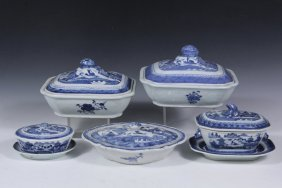 (7) Chinese Porcelain Serving Pieces - All 19th C.