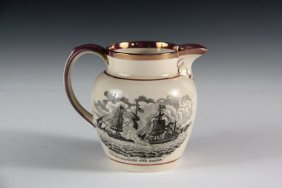 Small War Of 1812 Transfer Pitcher - Creamware And Pink