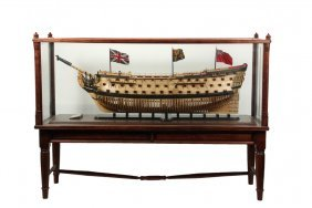 """Large Ship Model On Floor Stand - """"royal Sovereign"""""""