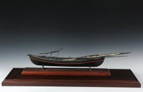 Glass Cased Boat Model - 19th C. Model Of Whaling