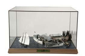"""Cased Marine Diorama - """"downeast Ferries In Action."""