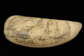 """Scrimshawn Whales Tooth - """"uss St Lawrence Sank The"""