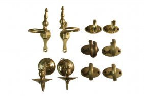 (4 Sets) Jamb Hooks & Pair Of Mirror Candle Sconces -