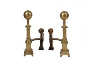 Pair Of Andirons - 18th C. Brass Andirons, Cannon Ball