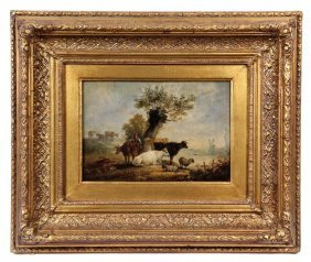 Oil On Panel - Dutch Pastoral Scene With Man Tending