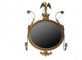 French Empire Gilt Mirror - Period Oval Gilt Framed