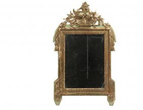 Continental Looking Glass - 19th C Provincial Carved