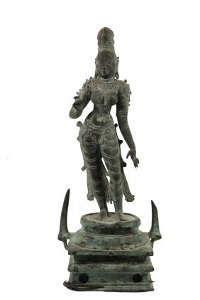 Ancient Asian Bronze Statue - Parvati, India, Tamil