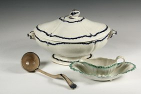 (4 Pcs) English Creamware - Turner Soup Tureen And