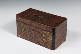 Tea Caddy - 19th C. French Boulle Work Tea Caddy, In