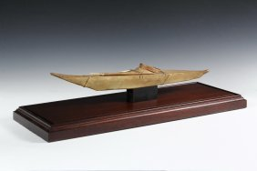 Native Made Kayak Model - Inuit Style, 19th C., Sinew