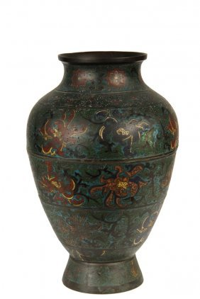 Chinese Bronze Cloisonne Urn - Large 18th C. Ovoid Urn
