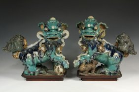 Pair Of Chinese Roof Tile Finials - Ming Dynasty Glazed