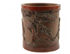 Chinese Brush Pot - Carved Chinese Scholar's Bamboo
