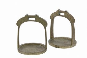 Asian Stirrups - 19th C. Chinese Cast Brass Stirrups