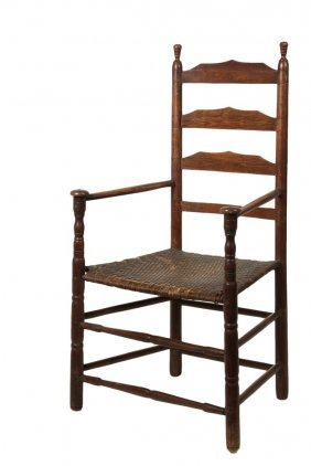 18th C Ladderback Armchair - American Colonial Spindle