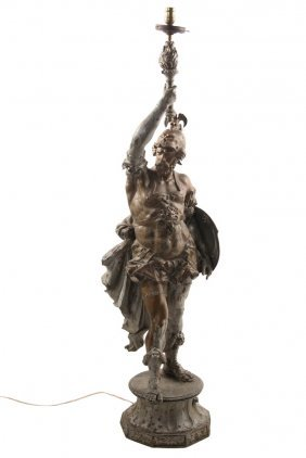 Entry Figurine - Painted Spelter Figure Of A Standing