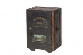 Small Merchant's Safe - Painted Wood And Steel Safe