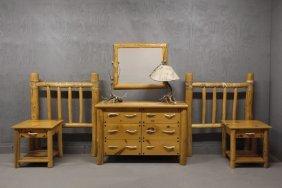 (6 Pc) Designer Made Custom Bedroom Suite & Pair Of