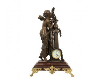 Statue With Column And Clock - Circa 1890 French Bronze