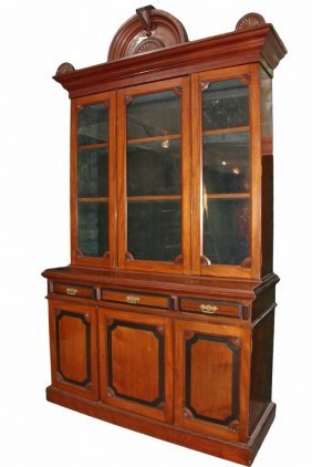 Victorian Two-part Stepback Cupboard - English