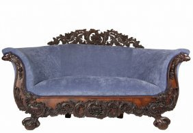 Early Transitional Victorian Sofa - American, Circa