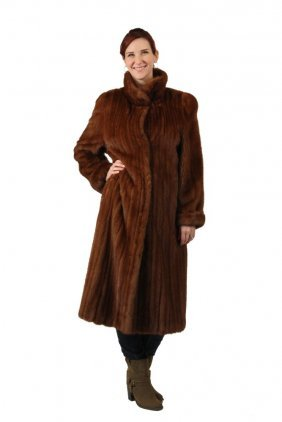Mink Coat - Full Length Natural Brown Female Skin Mink
