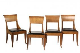 (set Of 4) Biedermeier Style Side Chairs - 29th C.,