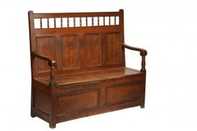 Hall Bench - 19th C. Lift-seat Hall Bench In Grain