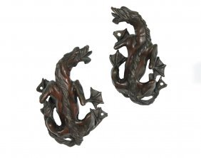 Pair Of Cast Bronze Dragons - 19th C. Continental