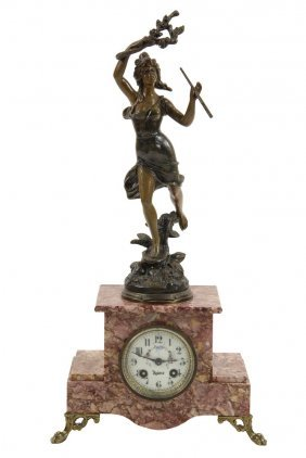 French Portico Clock - Pink Marble Clock With 8-day