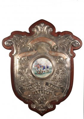 English Trophy Plaque - Silver Plate Repoussed Copper