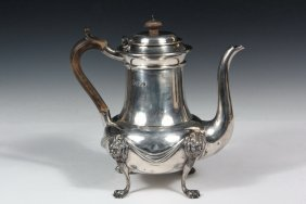 English Sterling Silver Coffee Pot - Georgian Style,