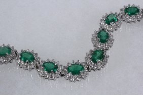 Bracelet - 14k White Gold Emerald & Diamond Bracelet