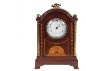 Mantel Clock - 19th C. English Inlaid Mahogany Mantel