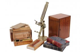 Early English Microscope & Slides - Cased Brass