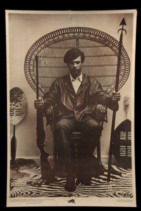 Original 1960's Protest Poster - Huey Newton Seated In