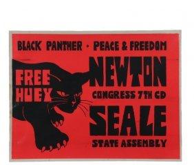 """Original 1960's Protest Poster - Rare """"free Huey"""""""