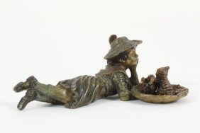 Cold Painted Austrian Bronze - Girl Lying On Floor With