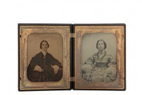 Half Plate Union Case With Ambrotypes - Circa 1850