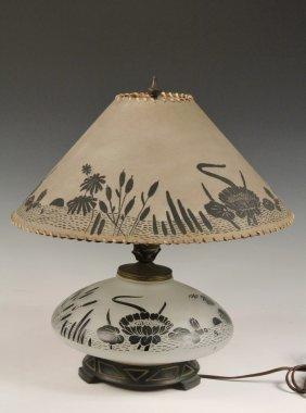 Art Deco Table Lamp - Squat Bulbous Frosted Glass Base