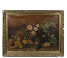 Naive Still Life - Tabletop Arrangement Of Fruit In