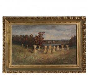 "Naive New England Artist - ""haystacks, Jamestown"", Oil"