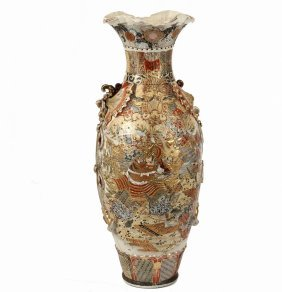Japanese Monumental Floor Vase - 19th C Satsuma Palace
