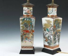 Pair Of Japanese Vases As Lamps - Late 19th C. Satsuma