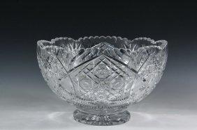 Cut Crystal Punch Bowl - Brilliant Cut Period American