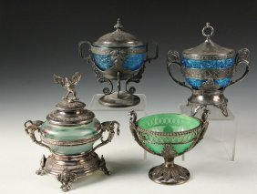 (4) Fancy Silver Plate And Glass Candy Dishes - All