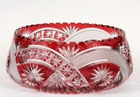 Bohemian Glass Center Bowl - Ruby Cut To Clear With