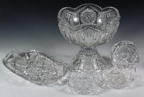 Cut Glass Punch Bowl, Ice Cream Tray & (3) Dishes -