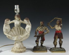 Figural Lamp And Bookends - 1920's American Cast